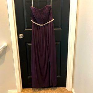 Long strapless elegant prom dress